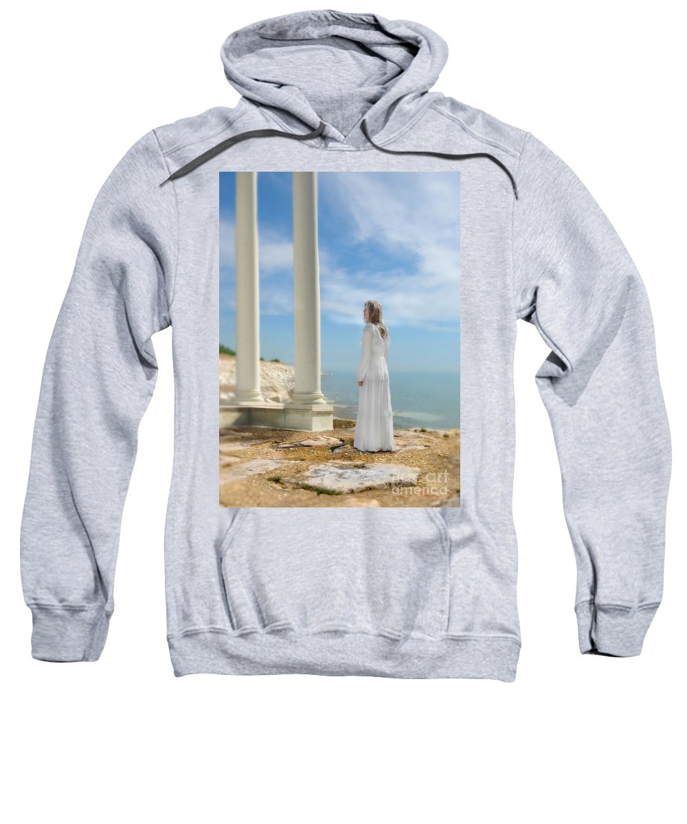 Walking Sweatshirt featuring the photograph Lady In White By The Sea by Jill Battaglia