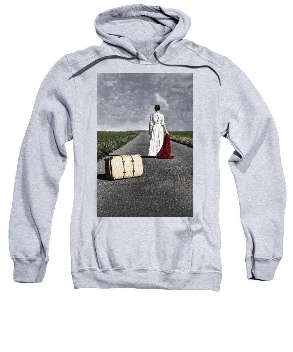 Female Sweatshirt featuring the photograph Lady On The Road by Joana Kruse