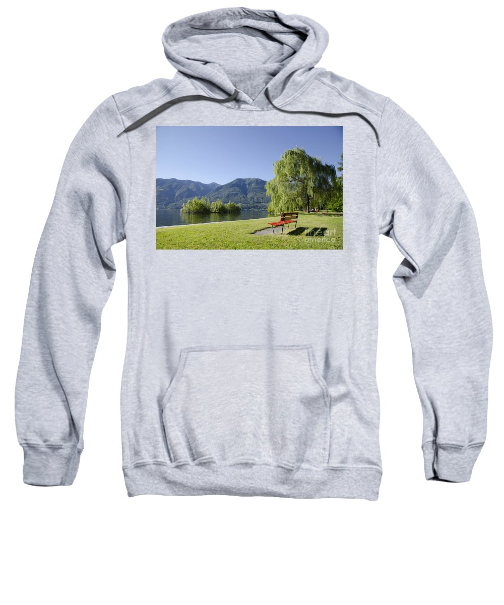 Bench Sweatshirt featuring the photograph Lakefront With Mountain by Mats Silvan