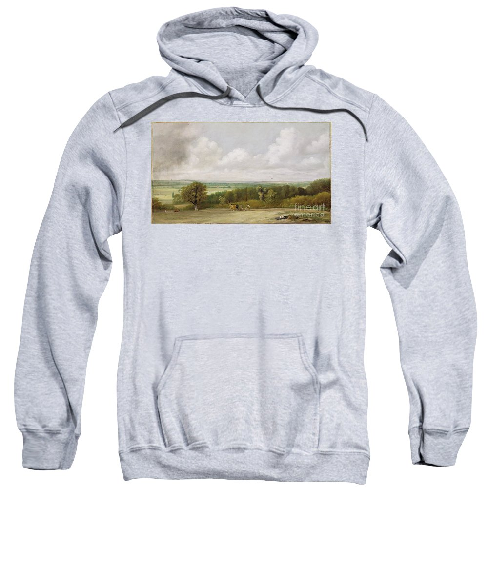 Xyc111950 Sweatshirt featuring the photograph Landscape - Ploughing Scene In Suffolk by John Constable