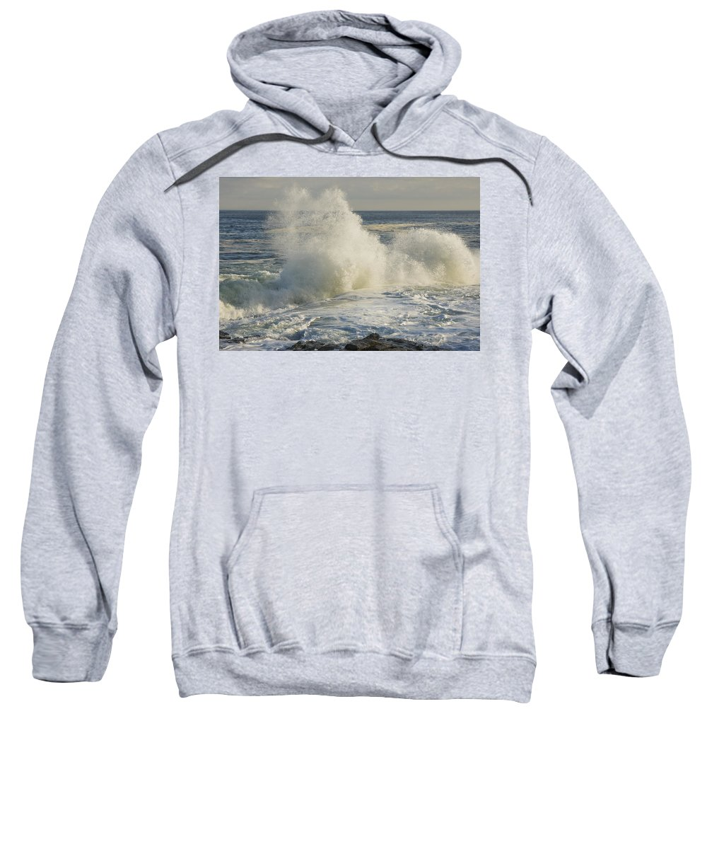 Maine Sweatshirt featuring the photograph Large Waves On Rocky The Coast Maine by Keith Webber Jr