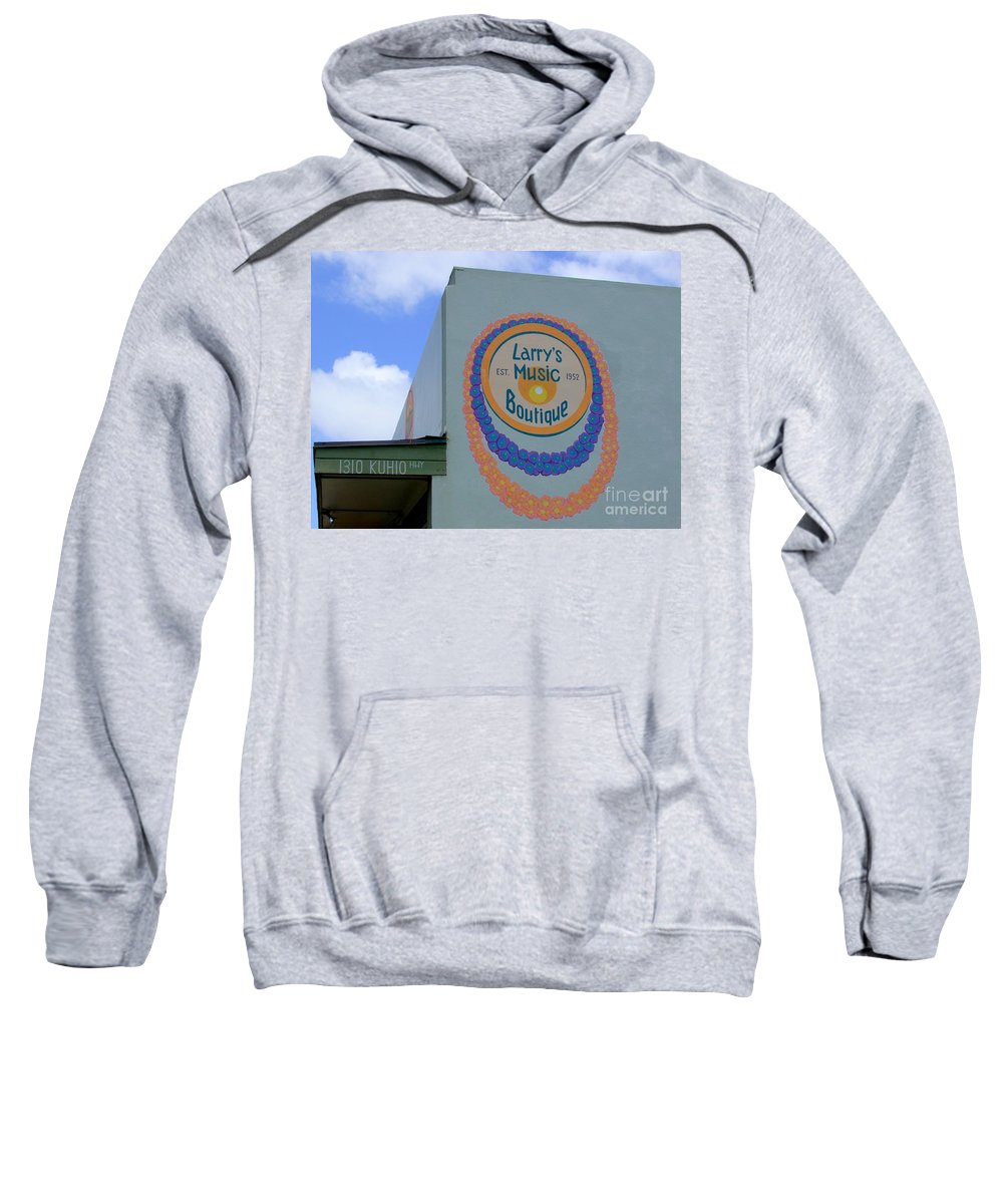 Mary Deal Sweatshirt featuring the photograph Larrys Music Boutique Est 1952 by Mary Deal