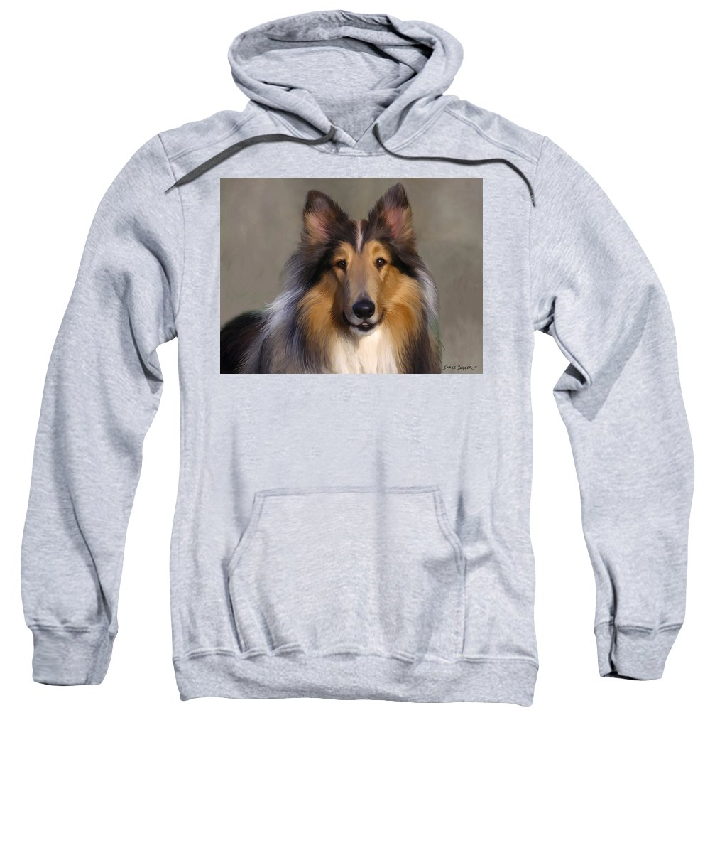 Dog Sweatshirt featuring the painting Lassie Come Home by Snake Jagger