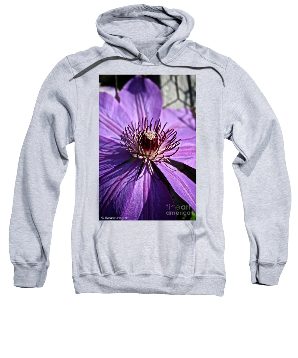Plant Sweatshirt featuring the photograph Lavender Clematis by Susan Herber
