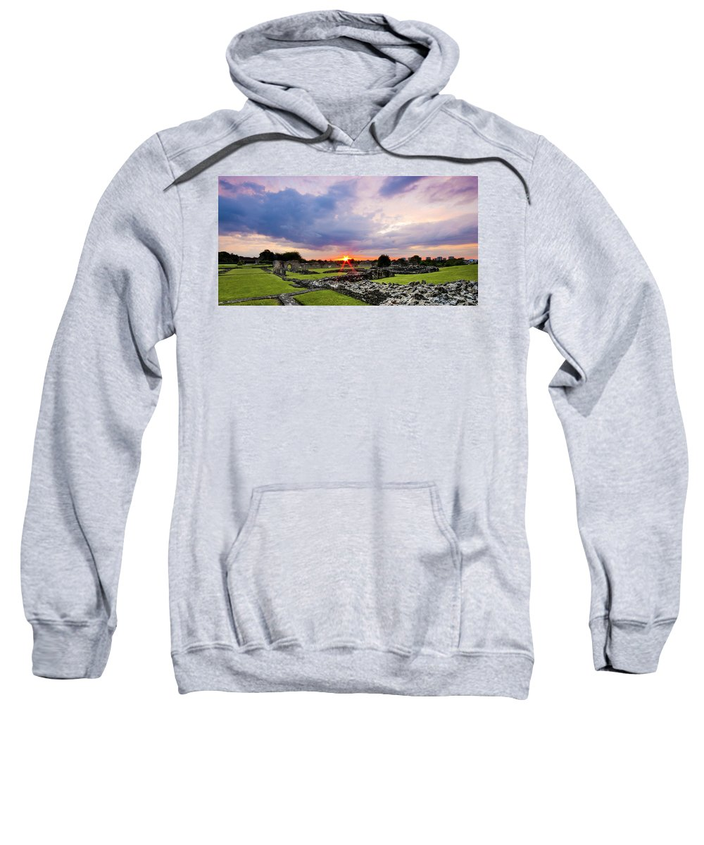 Lesnes Abbey Ruins Sweatshirt featuring the photograph Lesnes Abbey Ruins Sunset by Dawn OConnor