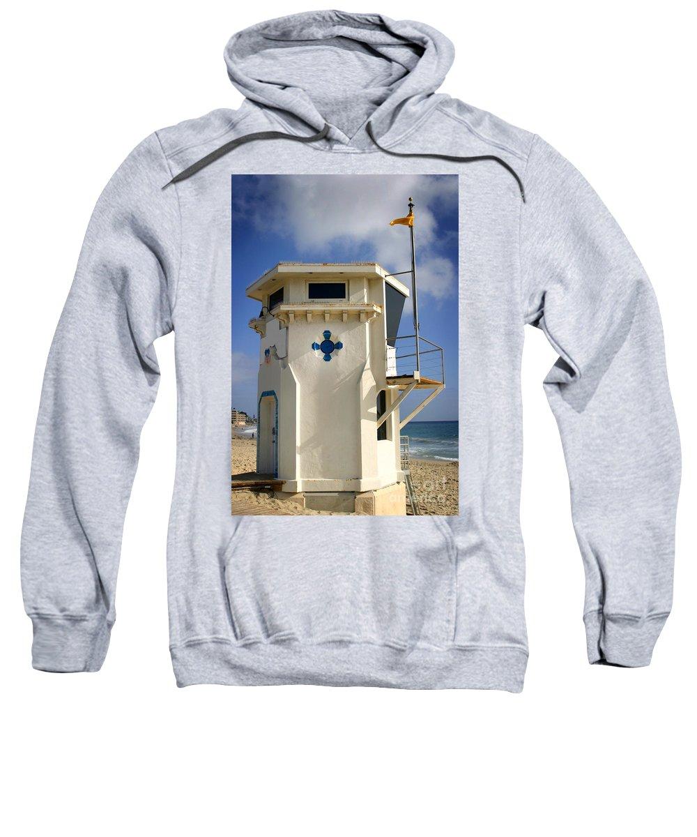 Coast Sweatshirt featuring the photograph Lifeguard Tower by Henrik Lehnerer