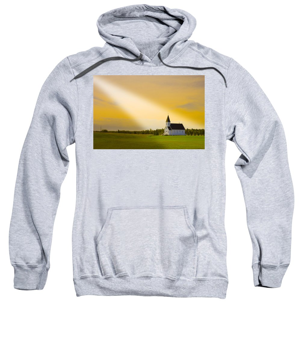 Bell Tower Sweatshirt featuring the photograph Light From Heaven by Corey Hochachka