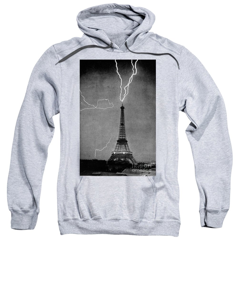 Science Sweatshirt featuring the photograph Lightning Strikes Eiffel Tower, 1902 by Science Source