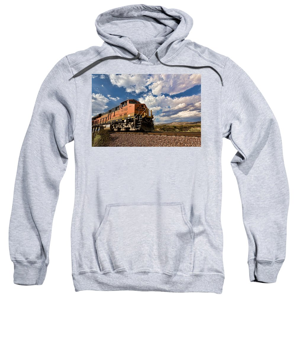 Train Sweatshirt featuring the photograph Loccomotive To The Sky by Peter Tellone