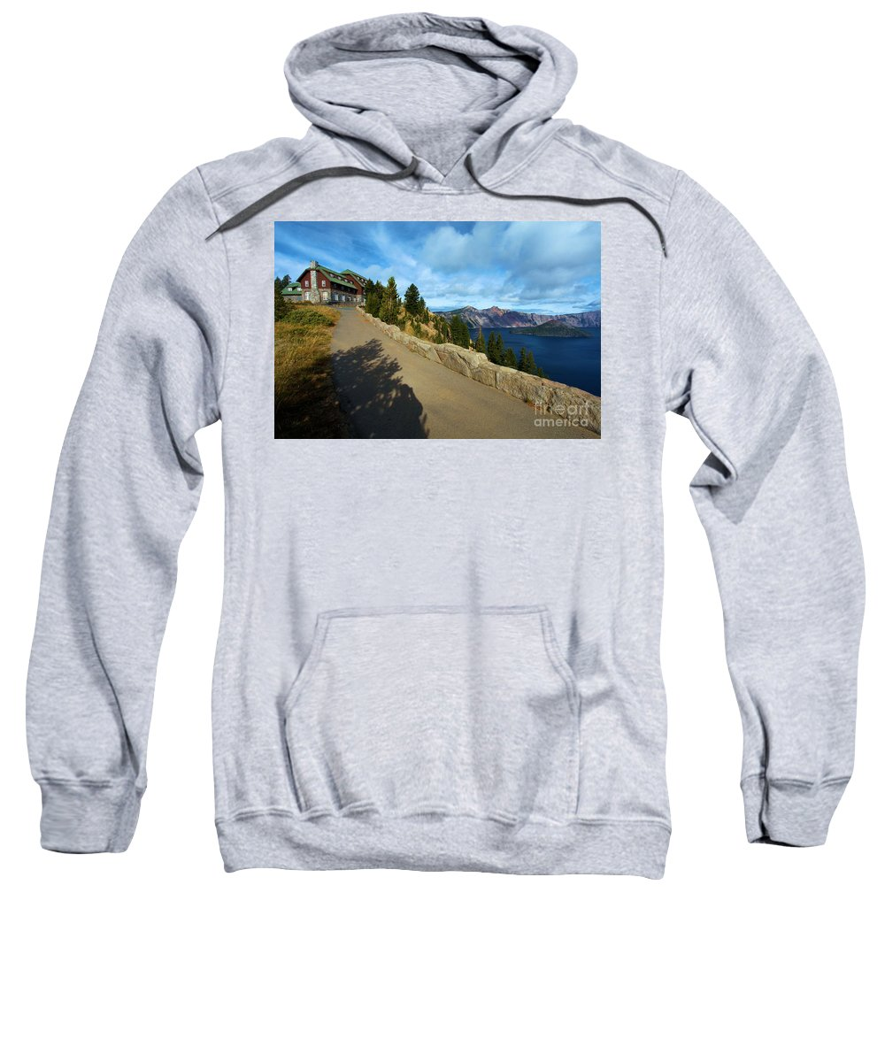 Crater Lake National Park Sweatshirt featuring the photograph Lodge On The Crater by Adam Jewell