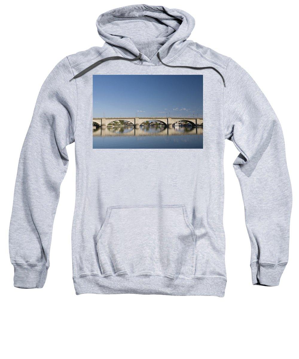 America Sweatshirt featuring the photograph London Bridge And Reflection by Gloria & Richard Maschmeyer