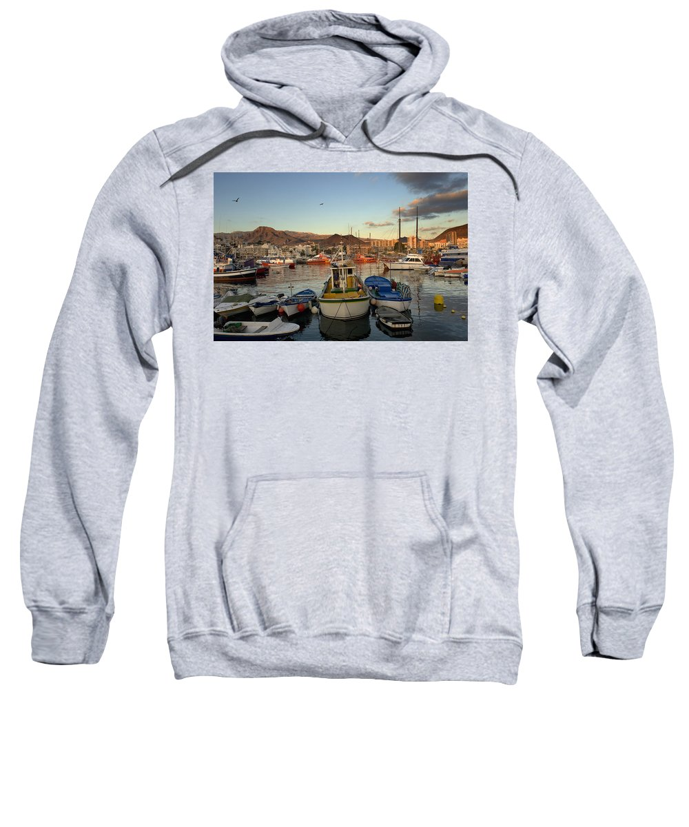 Boats Sweatshirt featuring the photograph Los Cristianos Habour. Los Cristianos by Axiom Photographic