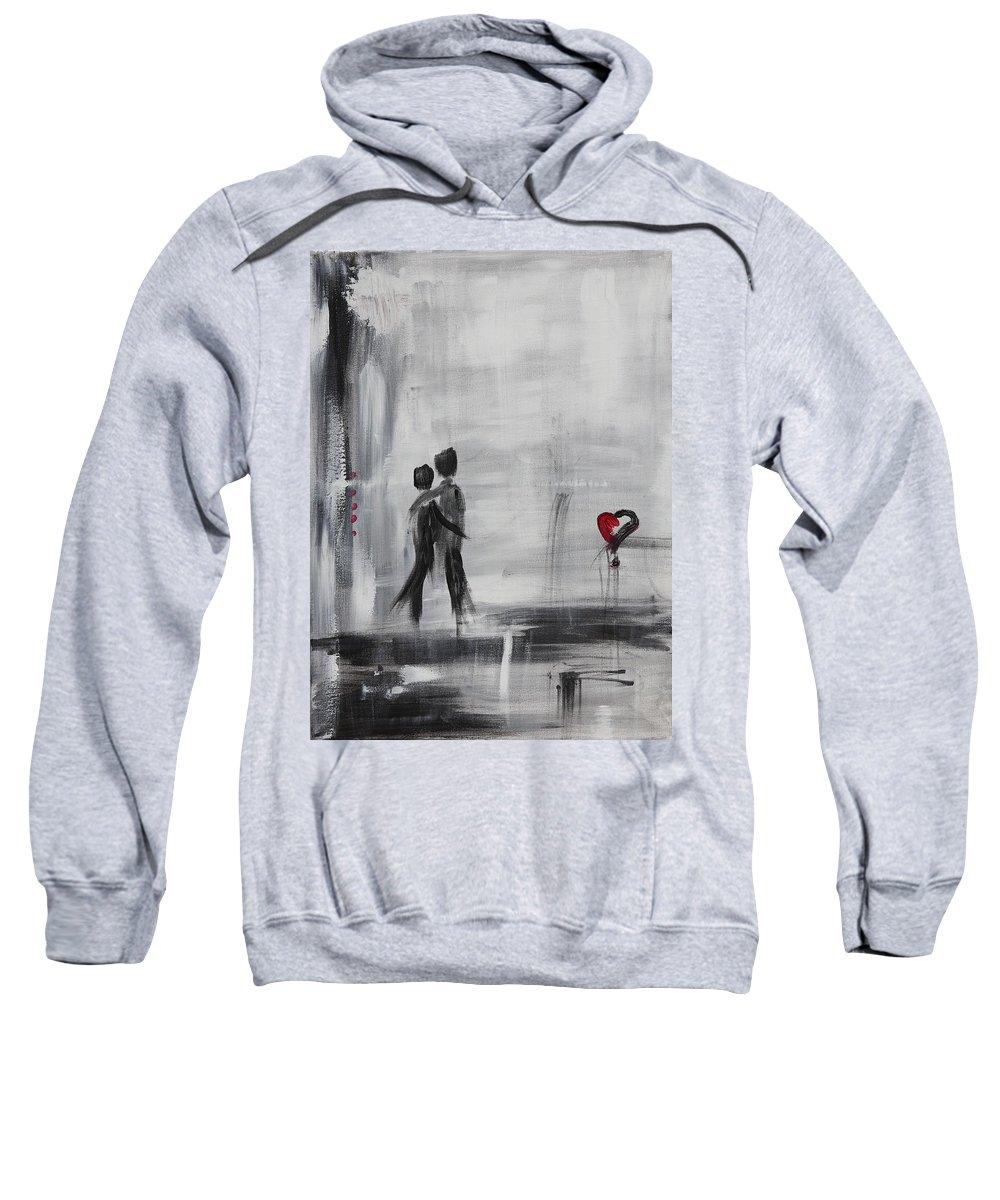 Love Sweatshirt featuring the painting Love Story 1 by Sladjana Lazarevic