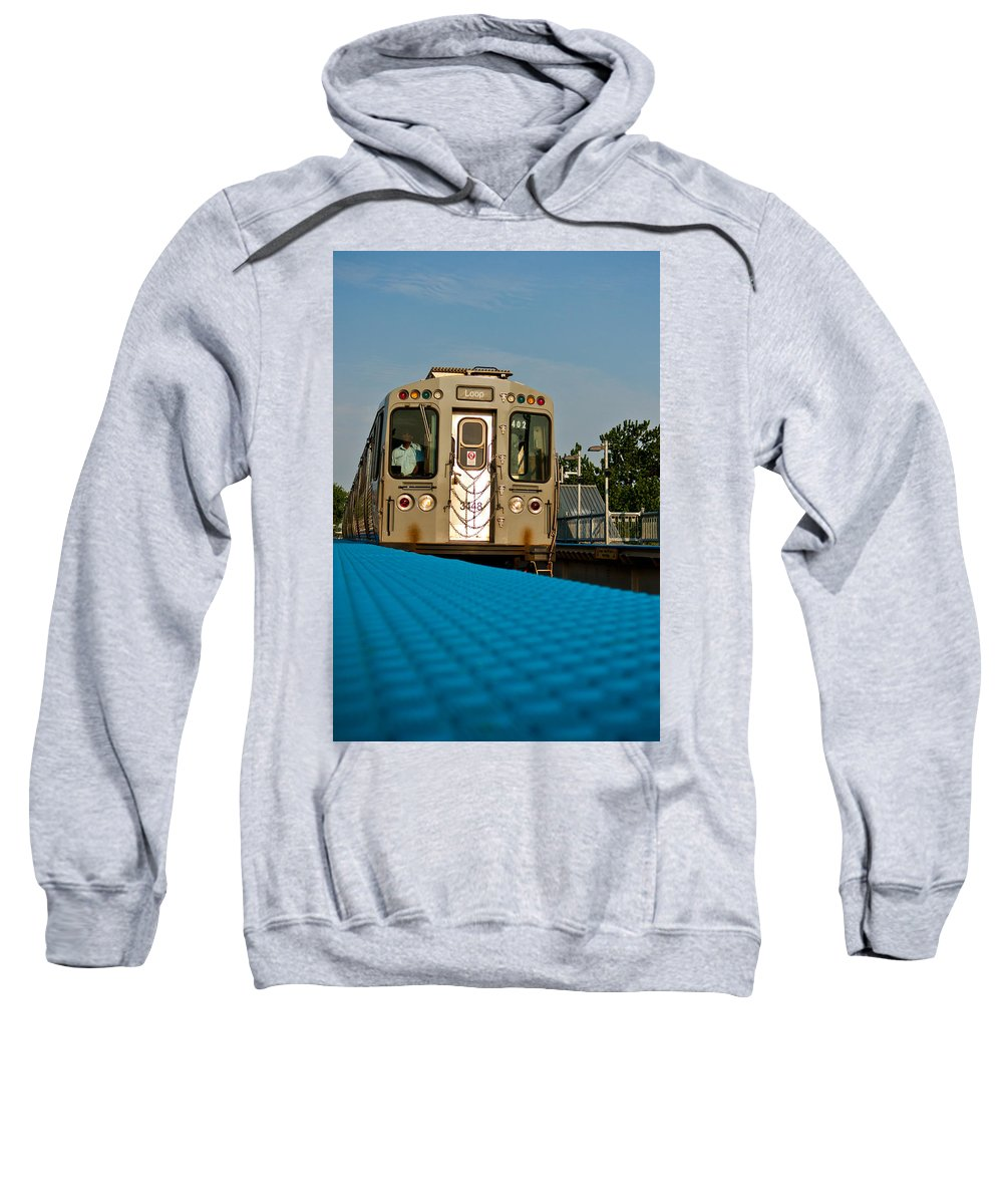Chicago Sweatshirt featuring the photograph Low Angle Train by Anthony Doudt