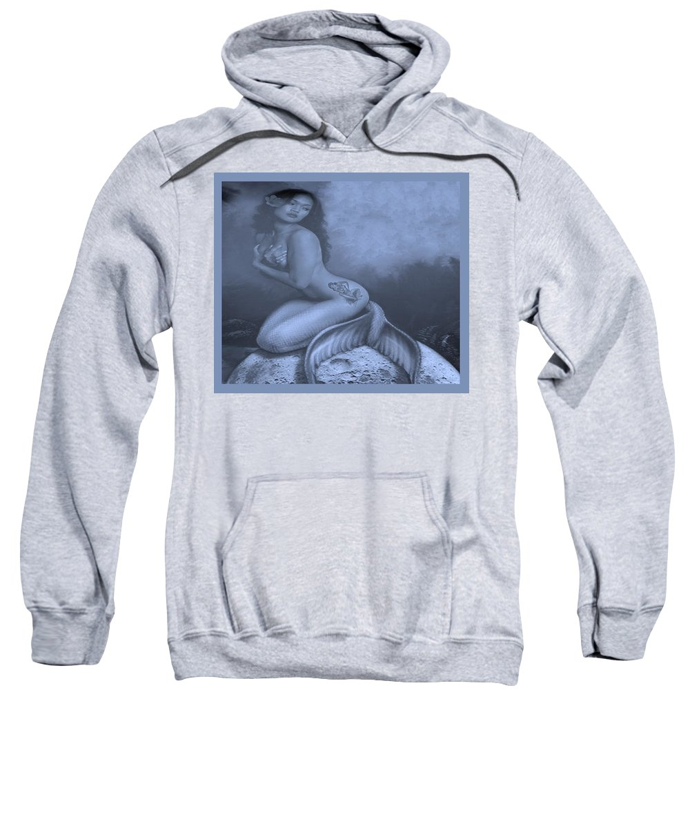 Mermaids Sweatshirt featuring the photograph Lydia The Tattooed Mermaid In Cyan by Rob Hans
