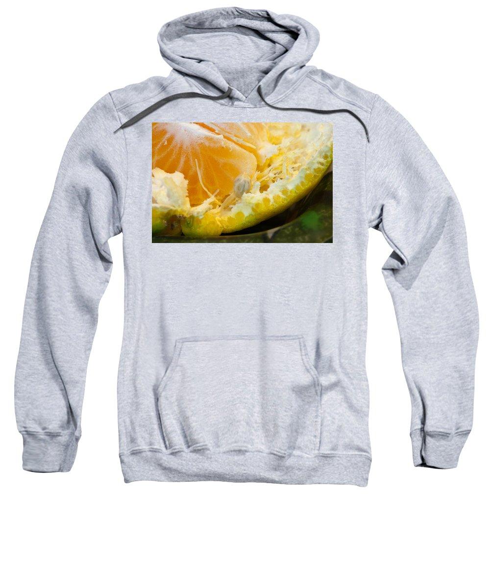 Macro Sweatshirt featuring the photograph Macro Photo Of Orange Peel And Pips And Main Fleshy Part by Ashish Agarwal