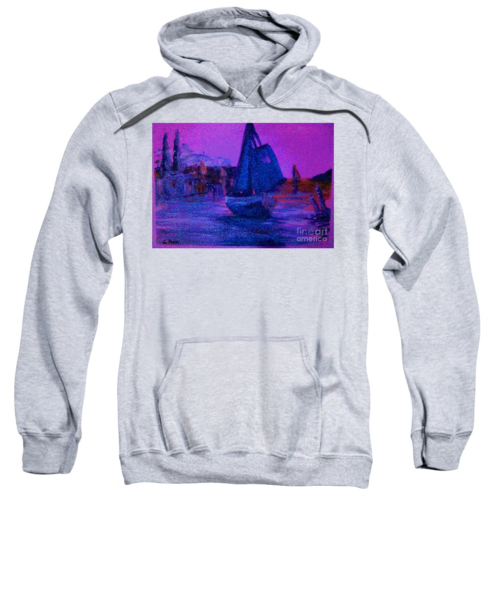 Boat Sweatshirt featuring the painting Magic Voyage by George Pedro