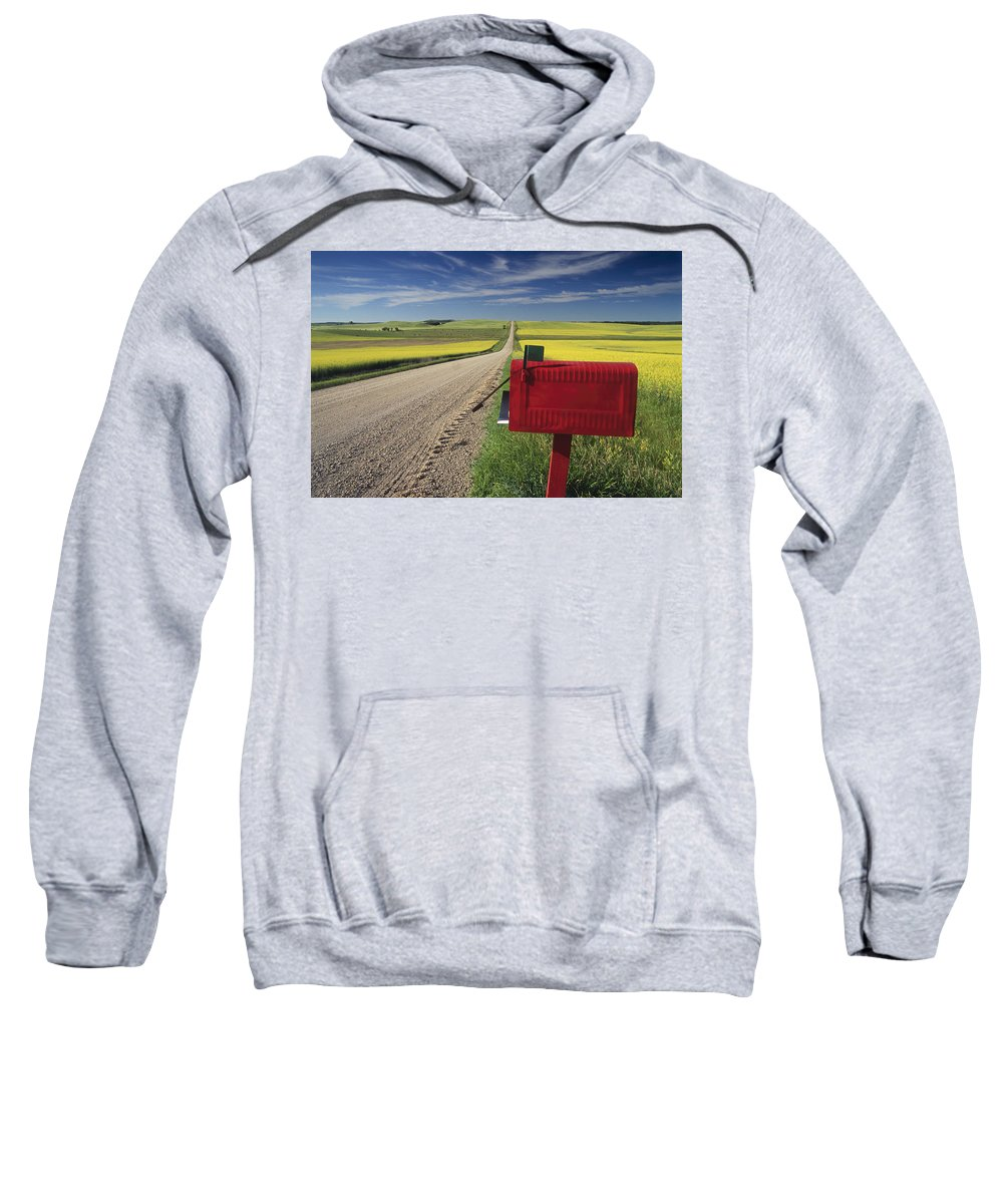 Country Road Sweatshirt featuring the photograph Mailbox On Country Road, Tiger Hills by Dave Reede
