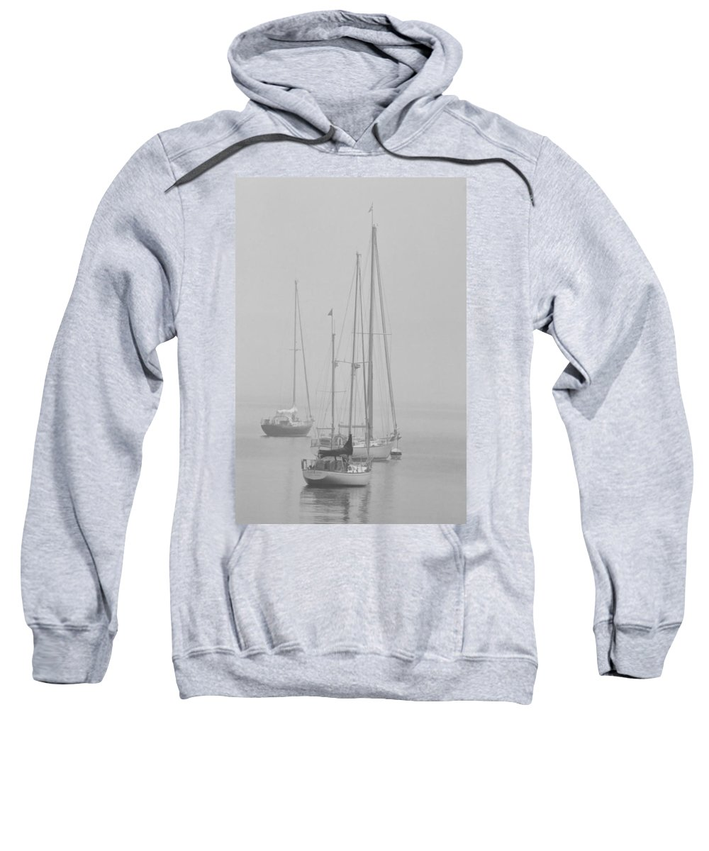 Art Sweatshirt featuring the photograph Maine Sailboats On A Foggy Morning by Randall Nyhof
