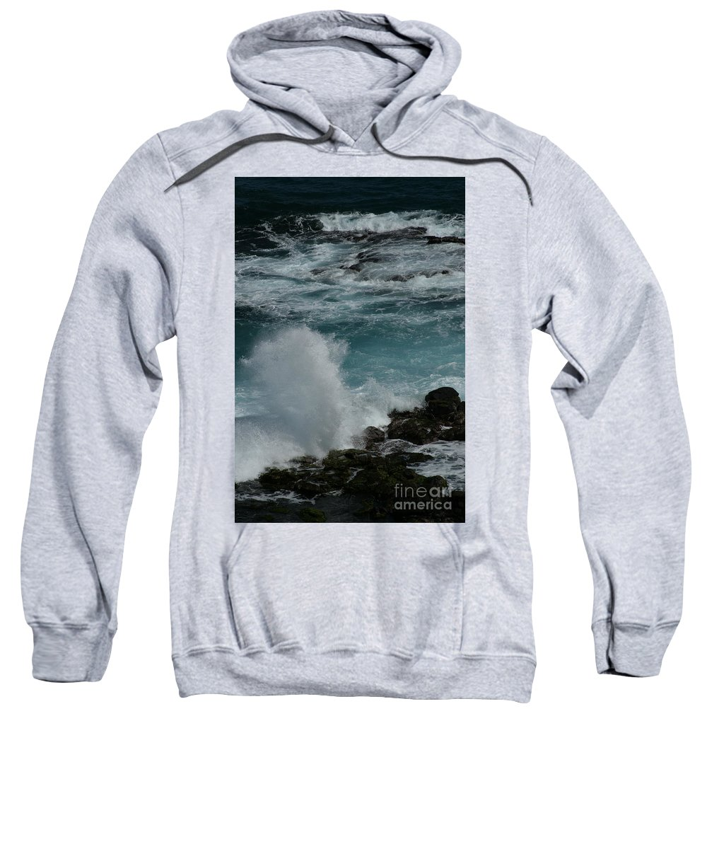 Aloha; Sharon Mau; Maliko Point; Maui; Hawaii; Pacific Ocean; Waves; Seascapes; Volcanic; Lava Rocks; North Shore; Hawaiian Islands; Splash; Energy; Power; Ocean; Dimensions; Blue; Nature; Beauty; Beautiful Sweatshirt featuring the photograph Maliko Point Maui Hawaii by Sharon Mau