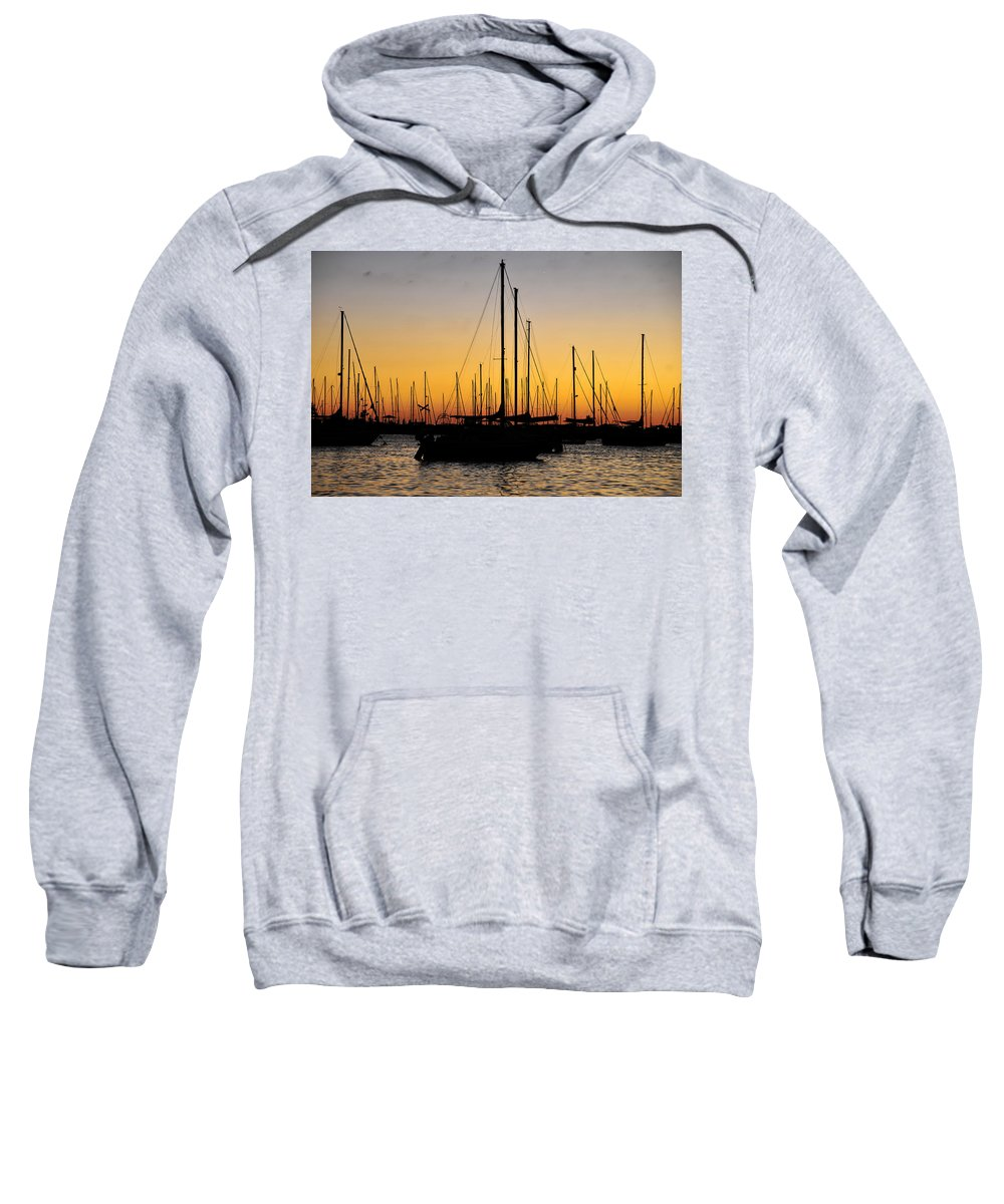 Fine Art Photography Sweatshirt featuring the photograph Masts At Sunset by David Lee Thompson