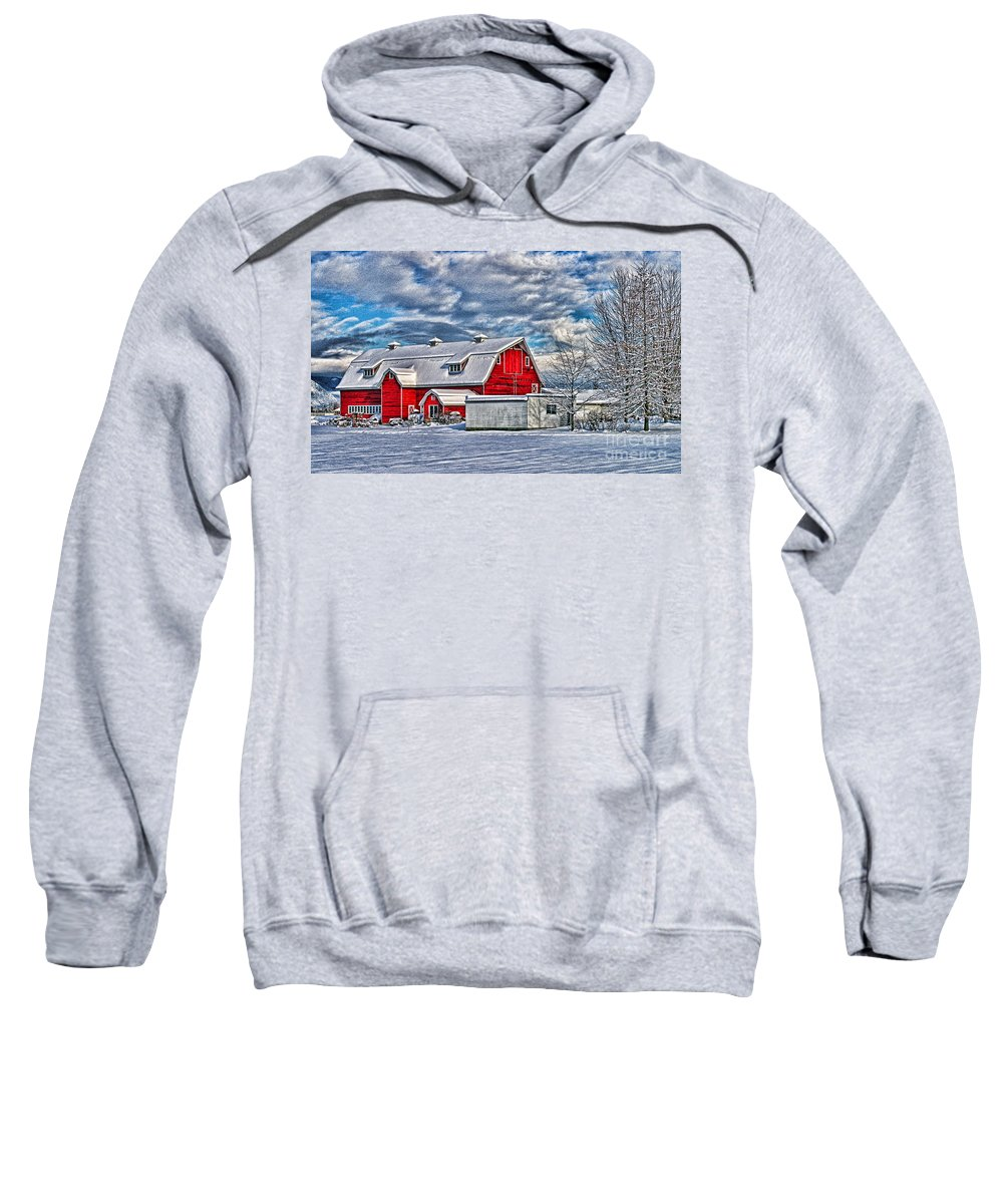 Old Barns Sweatshirt featuring the photograph Matsqui Barn Hdr by Randy Harris