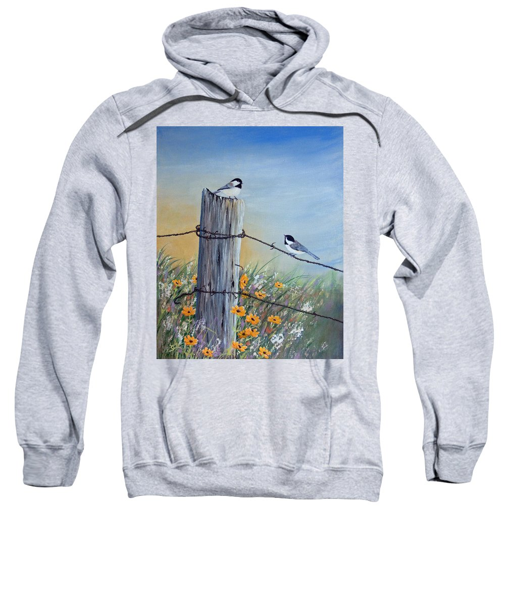 Chickadee Sweatshirt featuring the painting Meeting At The Old Fence Post by Dee Carpenter
