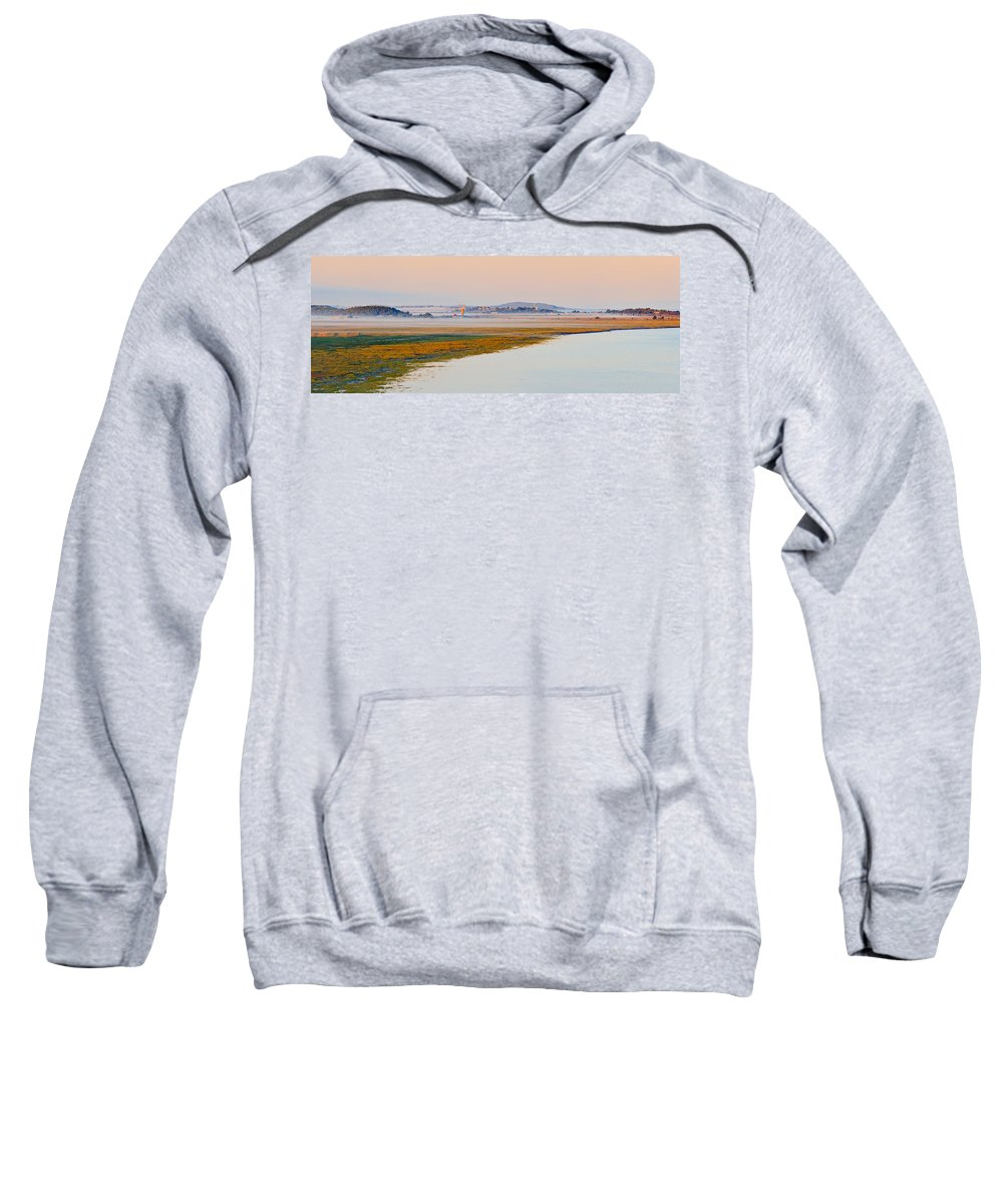 Canada Sweatshirt featuring the photograph Mist Over The Fields And Village by Yves Marcoux