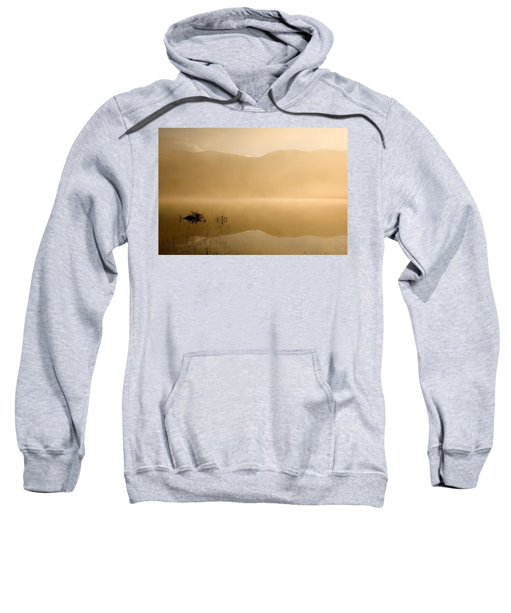 Sunrise Sweatshirt featuring the photograph Misty Reflections At Sunrise by Ian Middleton