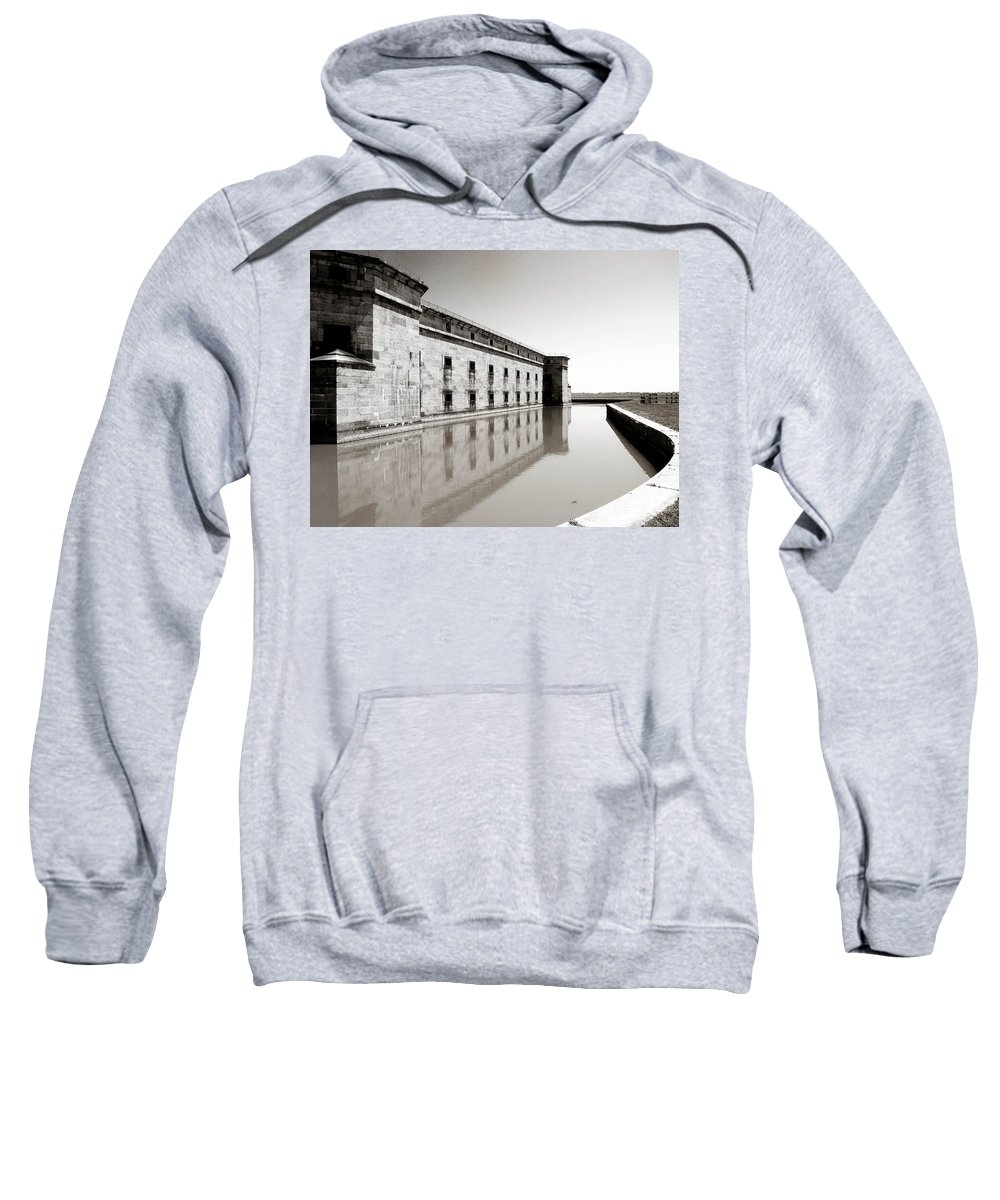 Water Sweatshirt featuring the photograph Moat Around Fort Delaware by Trish Tritz
