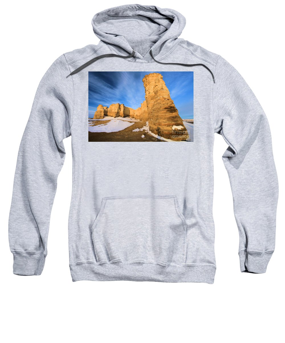 Monument Rocks Sweatshirt featuring the photograph Monument Rocks In Kansas by Adam Jewell