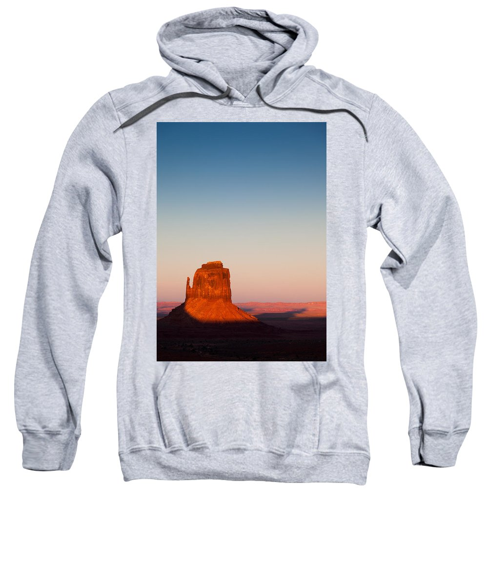 Monument Valley Sweatshirt featuring the photograph Monument Valley Sunset by Dave Bowman