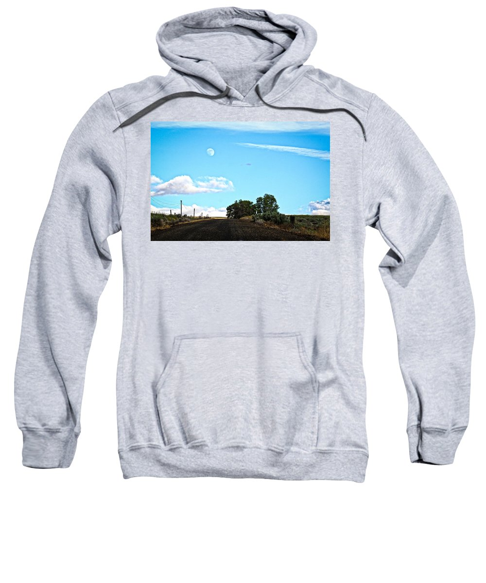 Moon Sweatshirt featuring the photograph Moon Road by Steve McKinzie