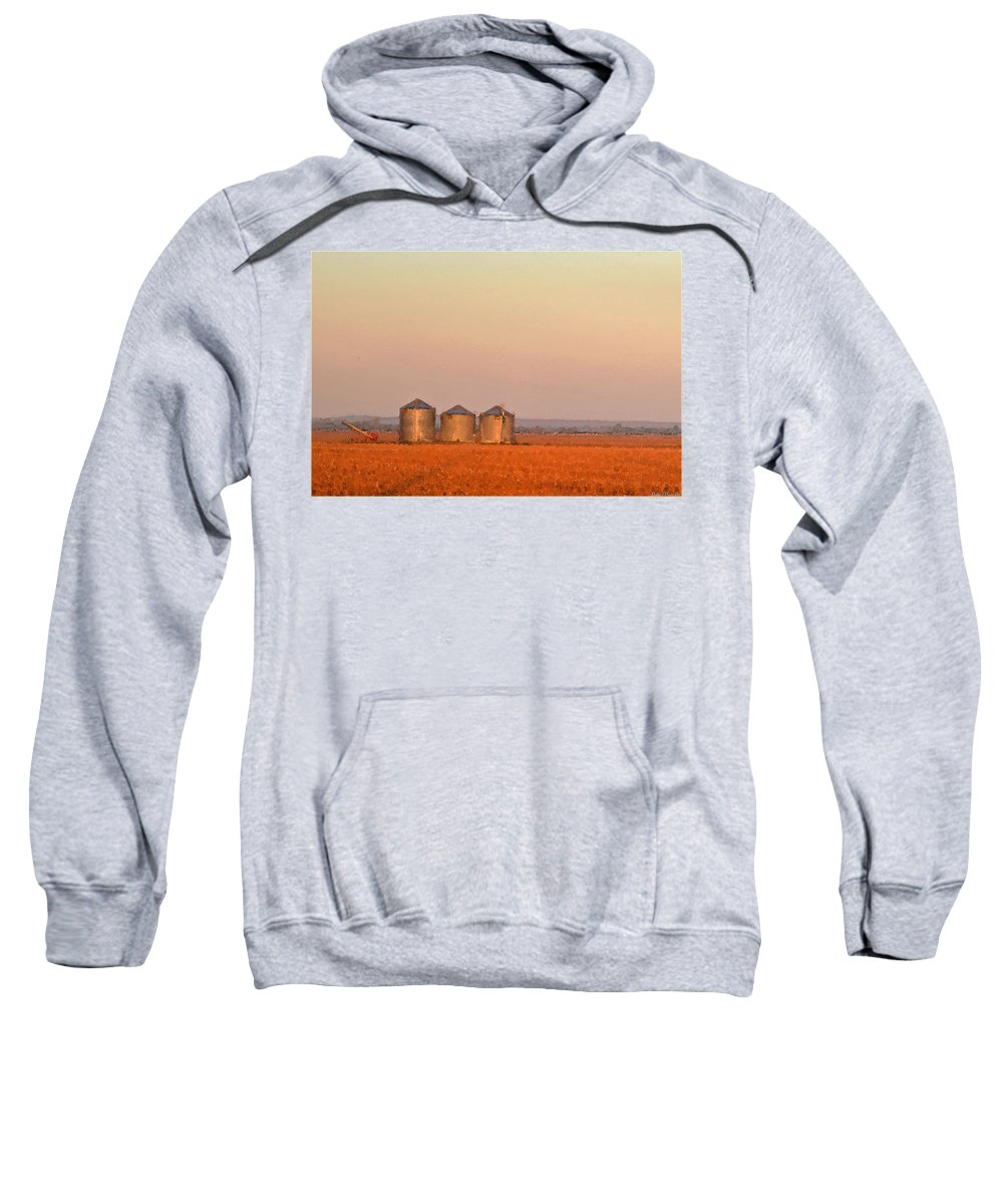Sun Sweatshirt featuring the photograph Morning At The Farm Watercolor Photoart by Debbie Portwood