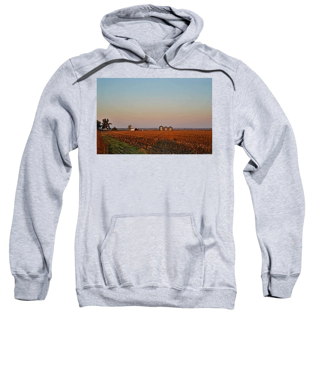 Scenery Sweatshirt featuring the photograph Morning In The Heartland Watercolor Photoart I by Debbie Portwood