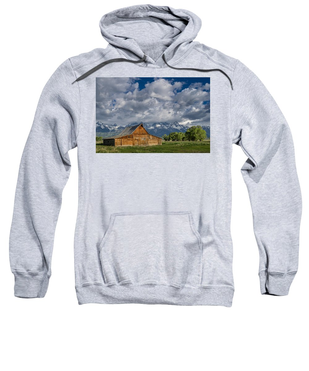 Grand Tetons National Park Sweatshirt featuring the photograph Moulton Barn Morning by Greg Nyquist