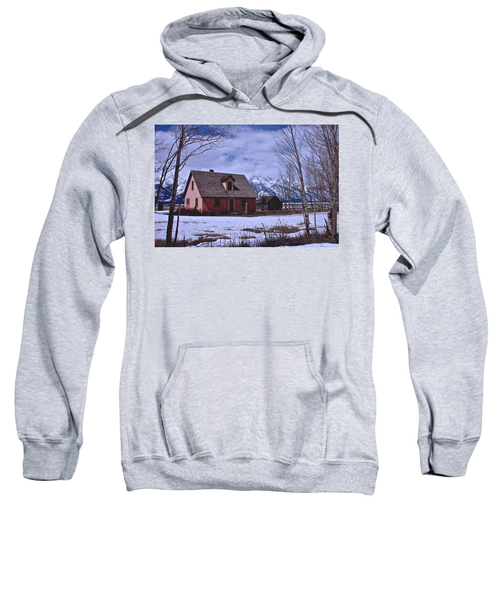 Grand Teton National Park Sweatshirt featuring the photograph Moulton's Pink House On Mormon Row by Eric Tressler