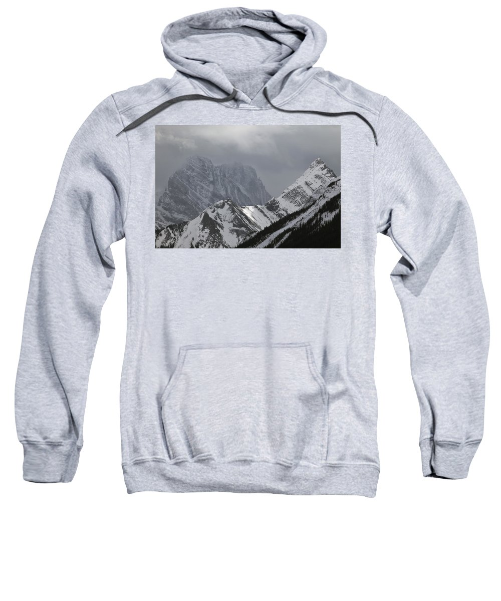 Light Sweatshirt featuring the photograph Mountain Peaks In Clouds, Spray Lakes by Darwin Wiggett