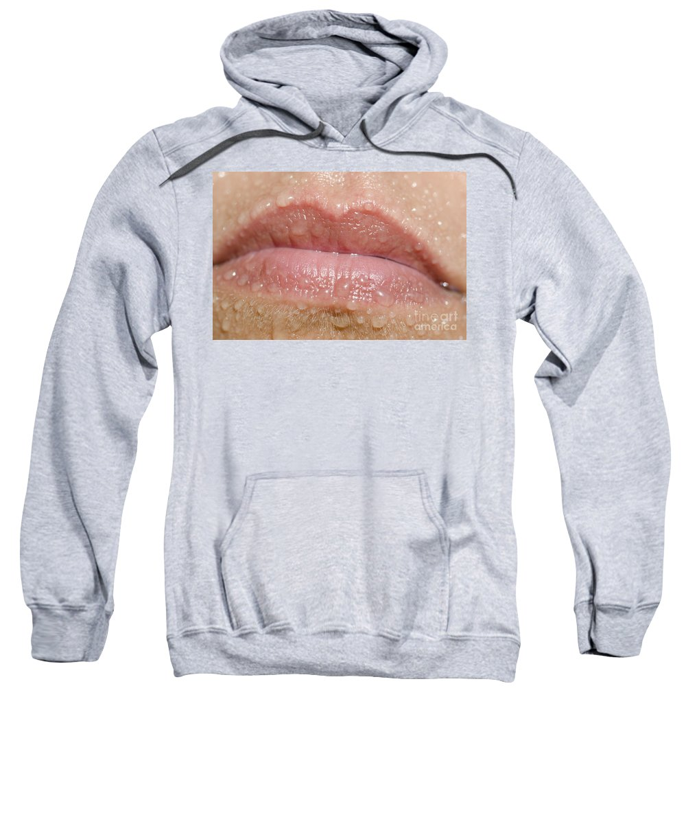 Mouth Sweatshirt featuring the photograph Mouth With Water Drops by Mats Silvan