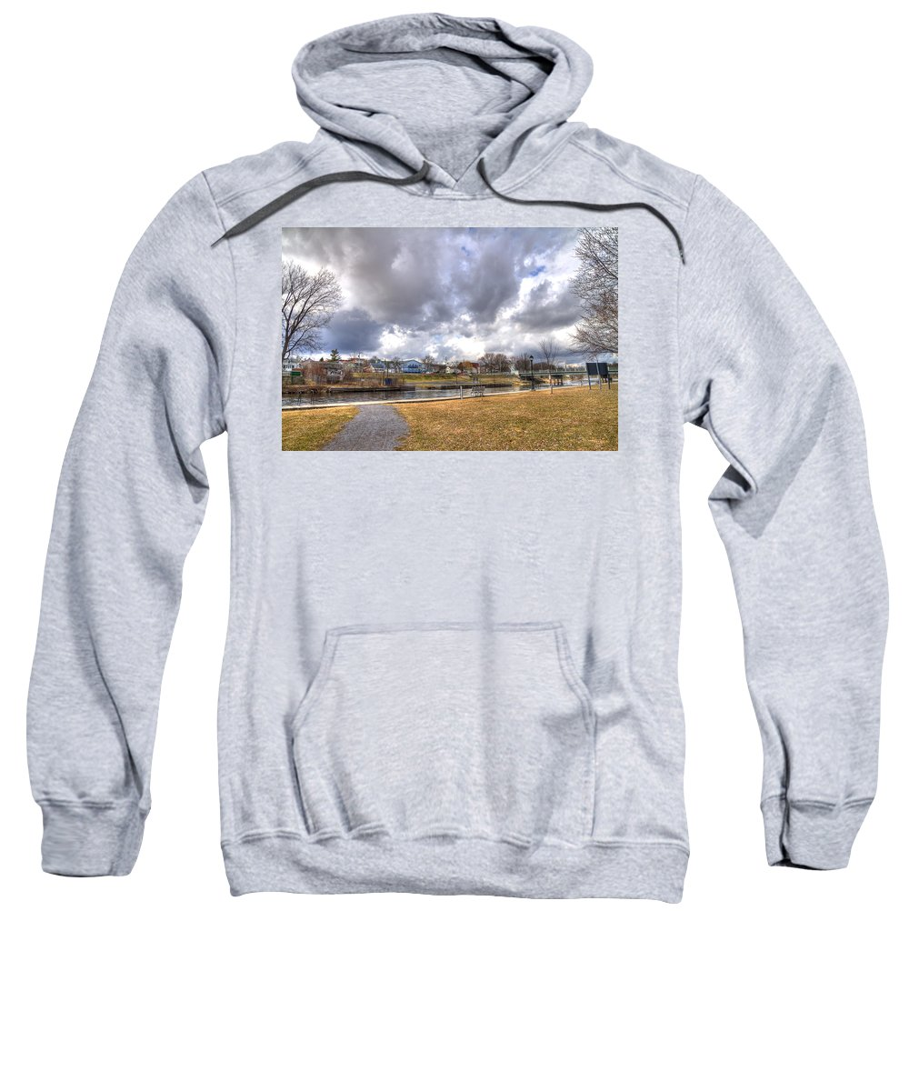 Acrylic Prints Sweatshirt featuring the photograph Napanee Harbour Or Free Docking With Hydro - Transients Only by John Herzog