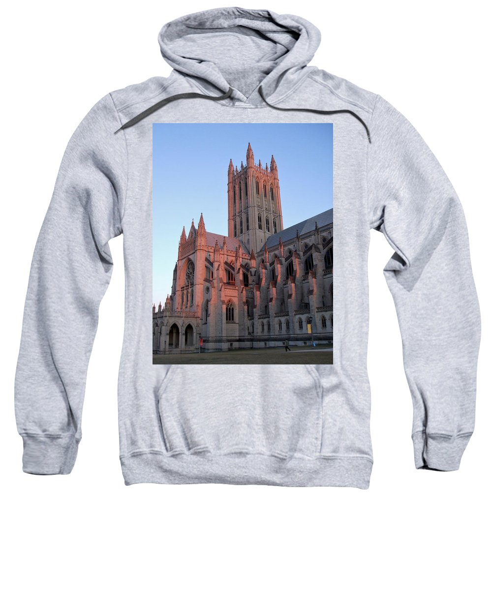 National Cathedral Sweatshirt featuring the photograph National Cathedral At Sunset by Susan Wyman