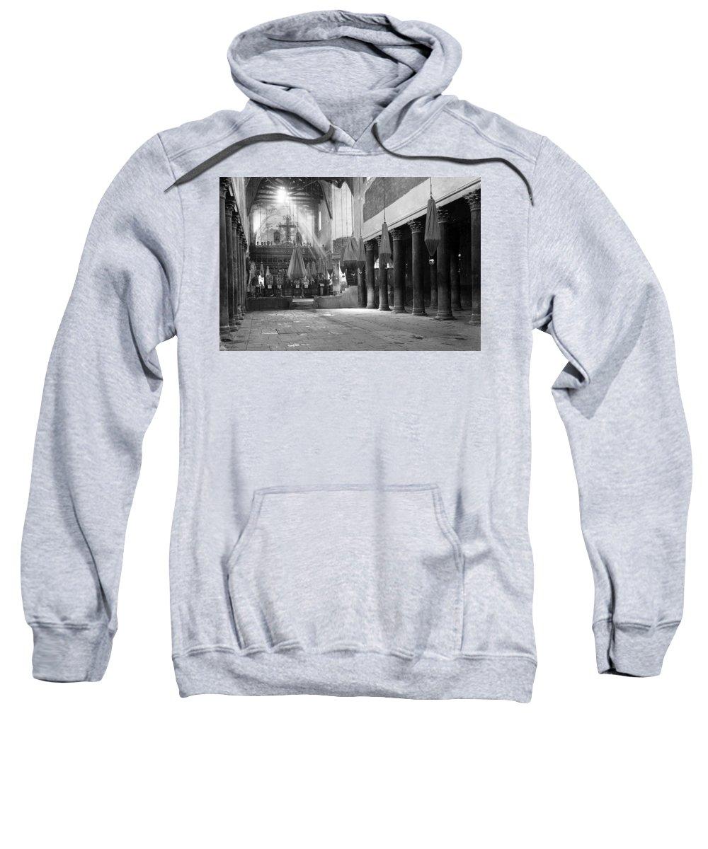 Nativity Church Sweatshirt featuring the photograph Nativity Pillars by Munir Alawi