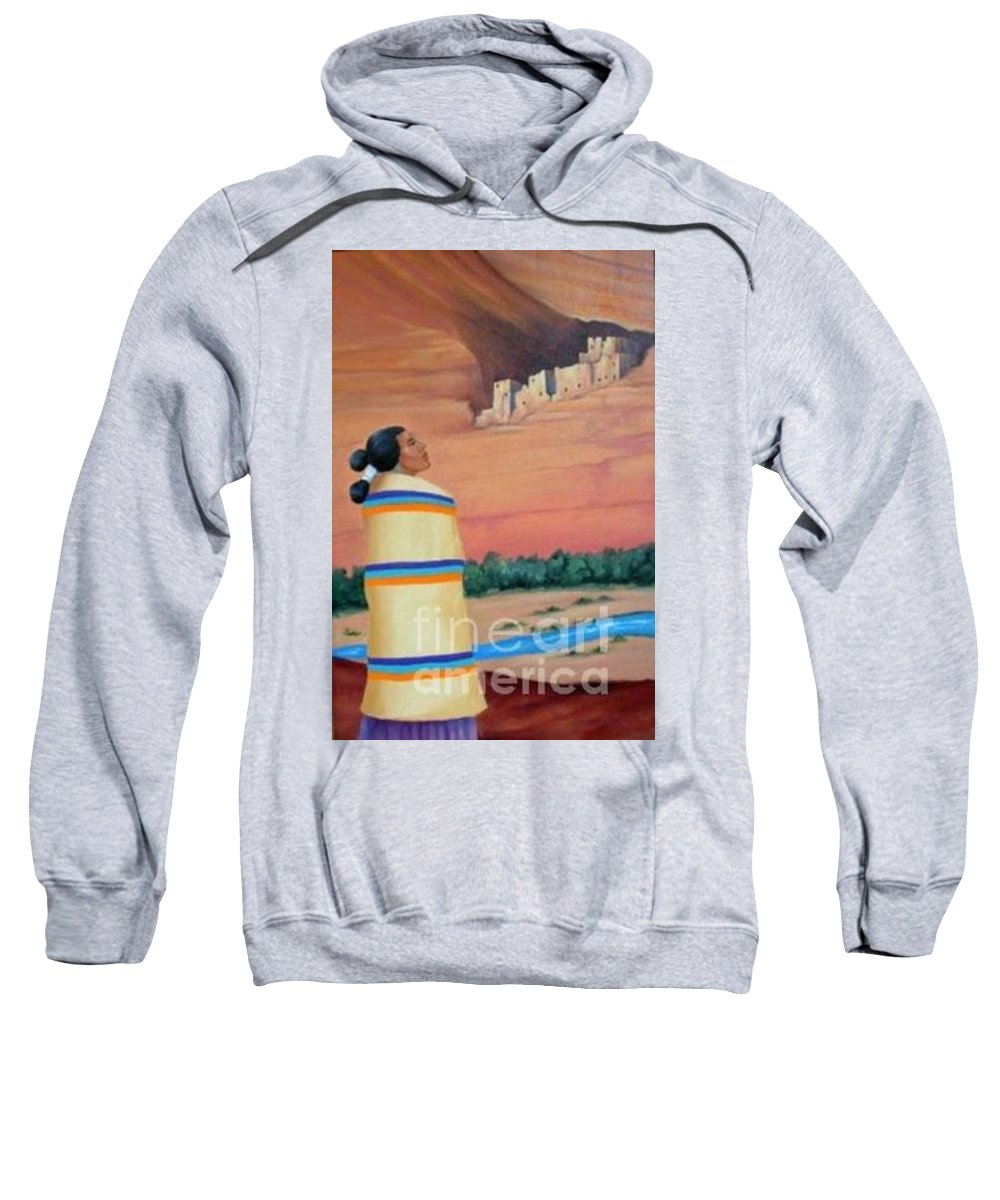 Navajo Woman Sweatshirt featuring the painting Navajo Woman by Don Monahan