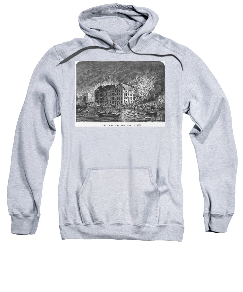 1835 Sweatshirt featuring the photograph New York: Fire Of 1835 by Granger