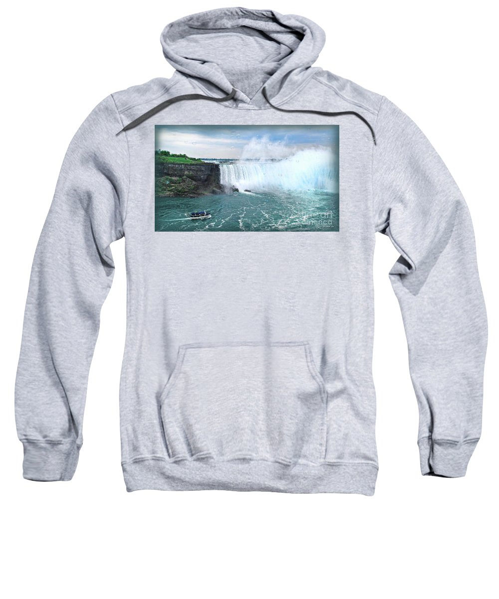 Niagara Sweatshirt featuring the photograph Niagara Falls And The Bubbles by Joan Minchak