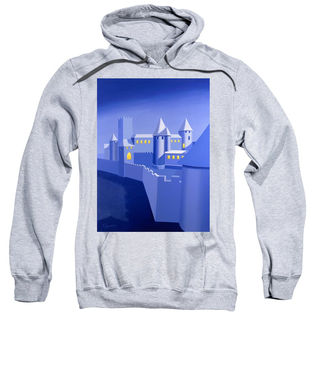 Castle Sweatshirt featuring the painting Night Castle by John Bowers