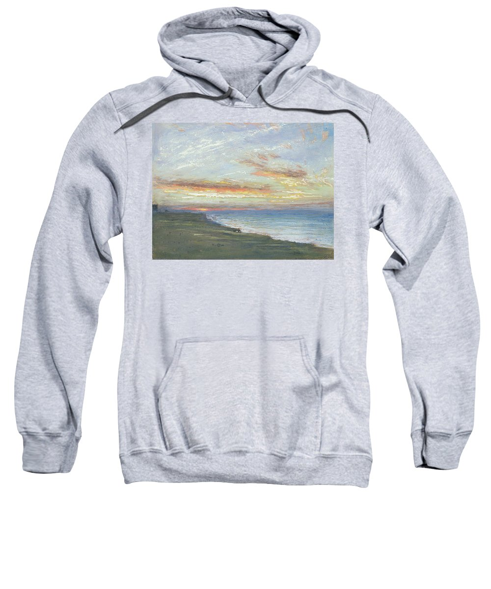 Norfolk Sweatshirt featuring the painting Norfolk Coast by Albert Goodwin