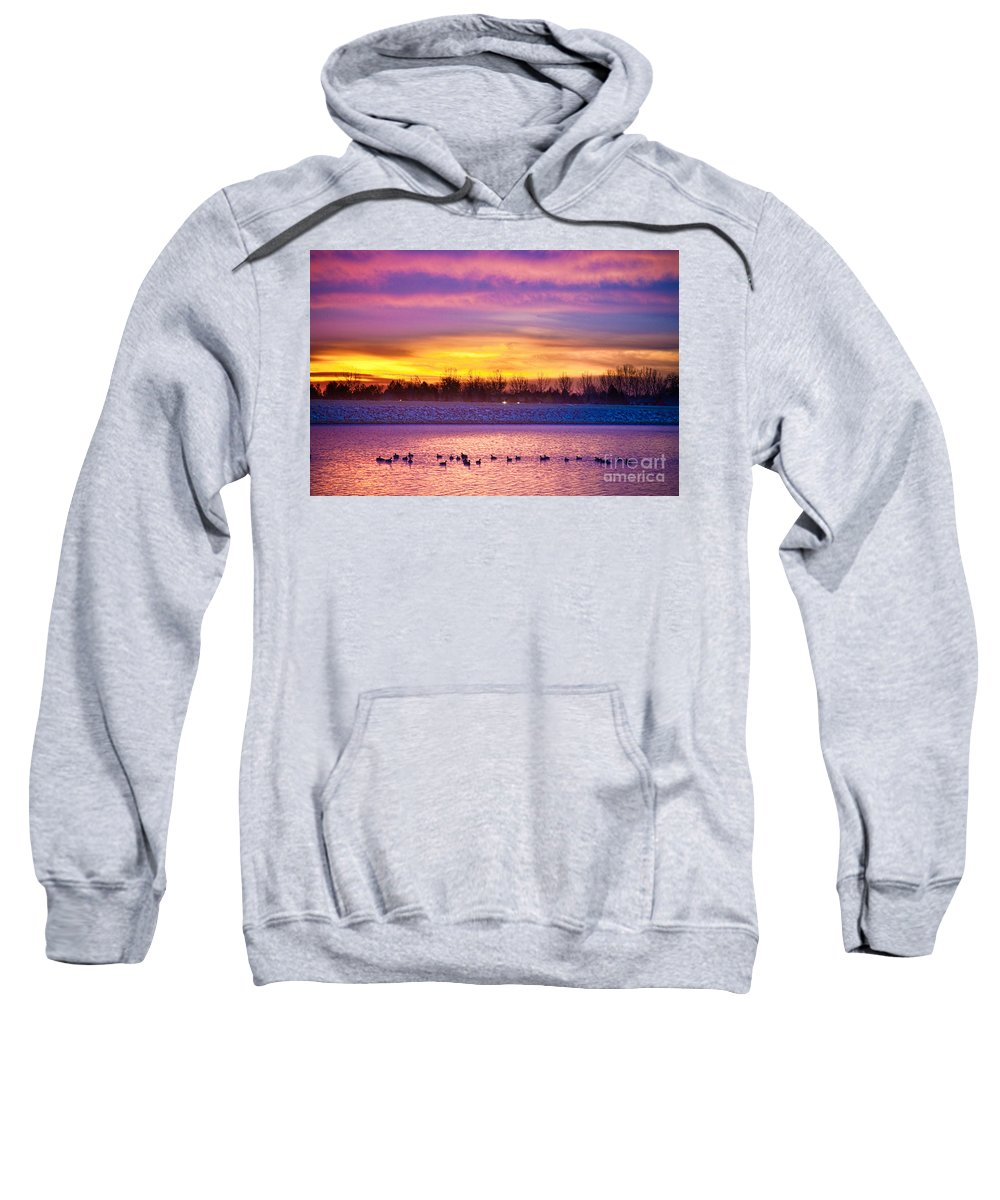 Sunrise Sweatshirt featuring the photograph November Lagerman Reservoir Sunrise by James BO Insogna