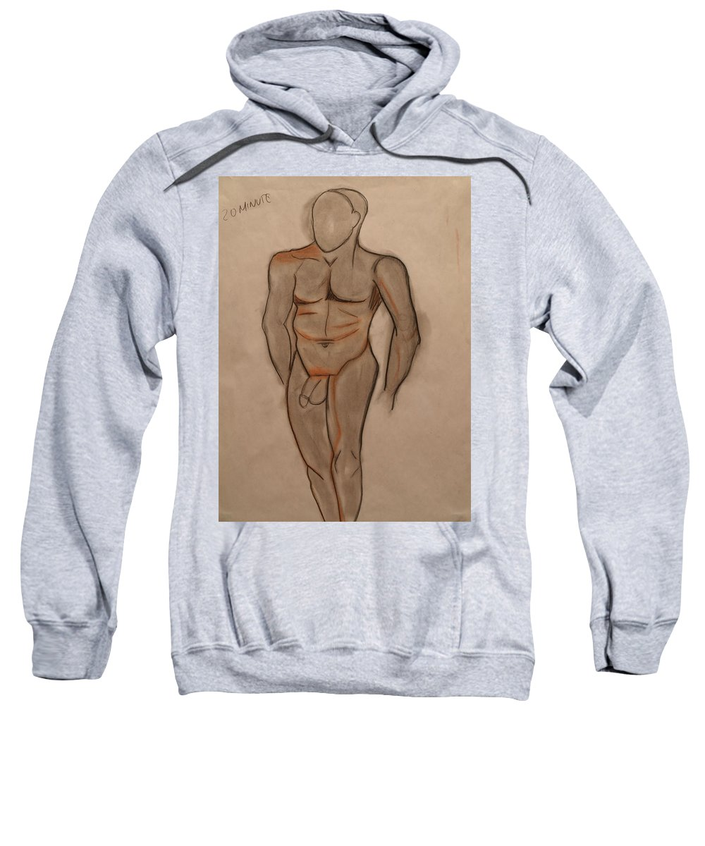 Male Sweatshirt featuring the drawing Nude Male Drawing by Teri Schuster