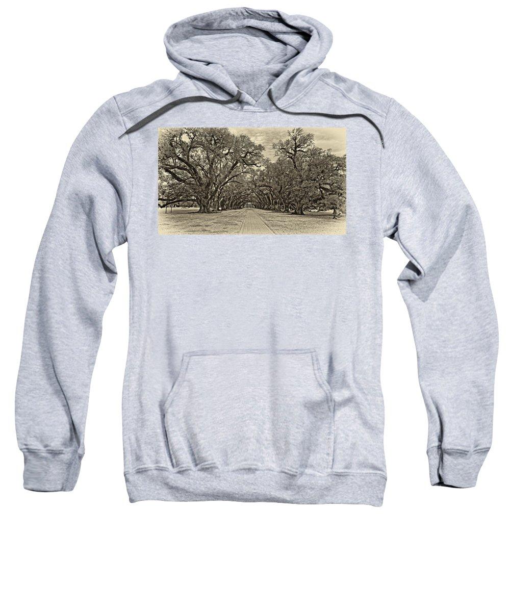 Oak Alley Plantation Sweatshirt featuring the photograph Oak Alley 3 Antique Sepia by Steve Harrington